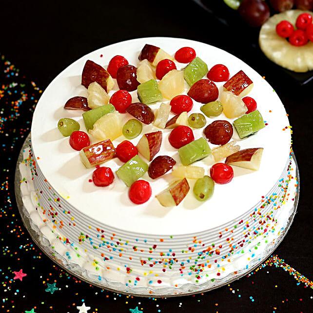 Fresh Fruit Vanilla Cake: Buy Eggless Cakes