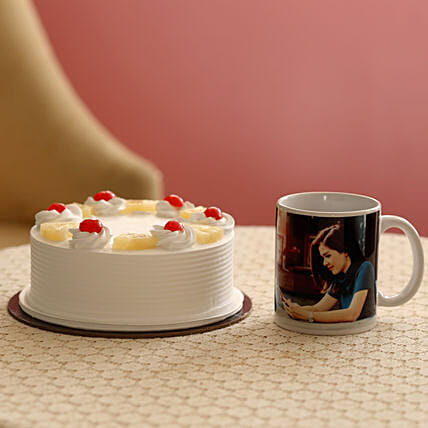 Fresh Pineapple Cake & Personalised Mug Combo: Gift Combos