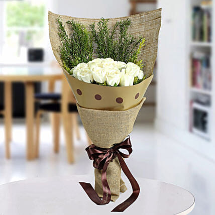 Fresh White Roses Bunch: White Flowers