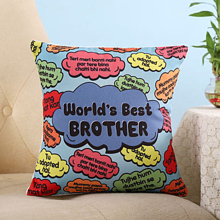 Funny Dialogues World's Best Brother Cushion: Bhai Phota Gifts for Brother