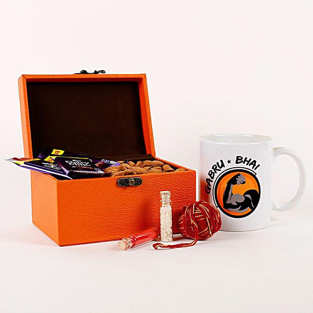 Gabru Bhai & Almonds in Orange FNP Box: Cadbury Chocolates