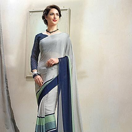 Glorious Grey Chiffon Printed Saree: