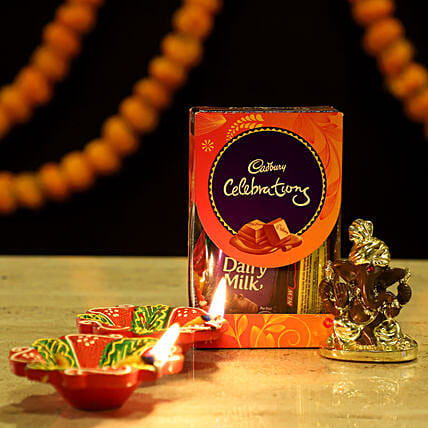 Gold Plated Ganesha Festive Hamper: Cadbury Chocolates