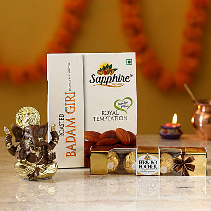 Gold Plated Ganesha Idol & Delights: Ferrero Rocher Chocolates