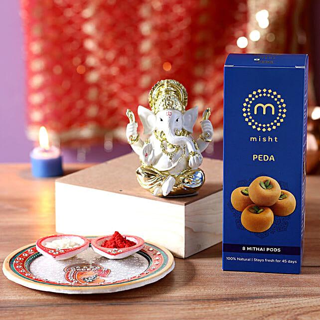 Gold Plated Ganesha Idol Pooja Hamper: Send Diwali Pooja Thali