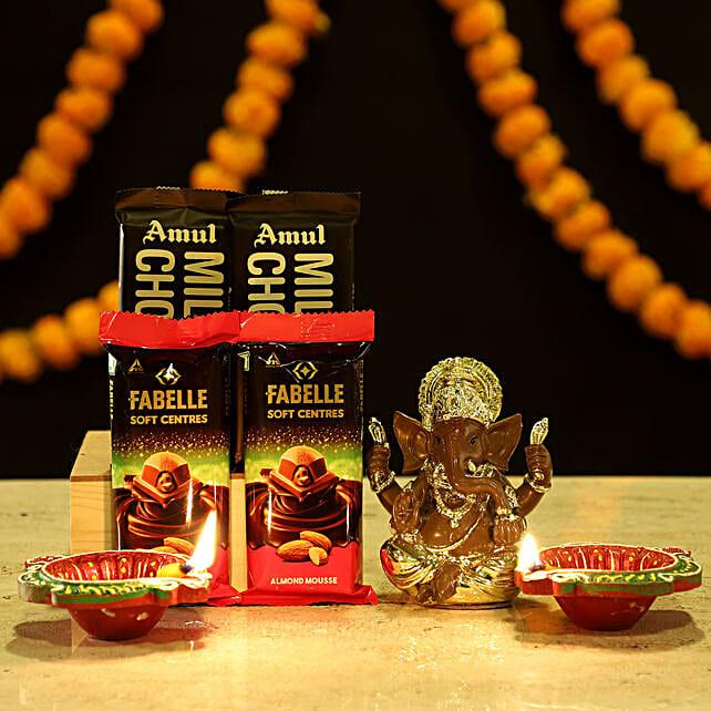 Gold Plated Ganesha Sweet Hamper: Ferrero Rocher Chocolates