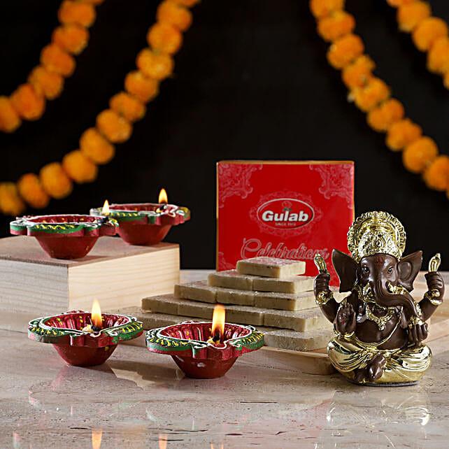Gold Plated Ganesha & Sweets: Diyas