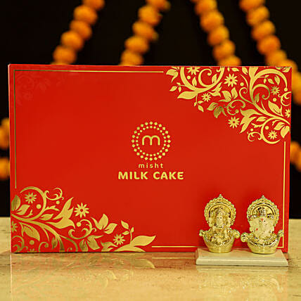 Gold Plated Laxmi Ganesha & Milk Cake: Buy Sweets