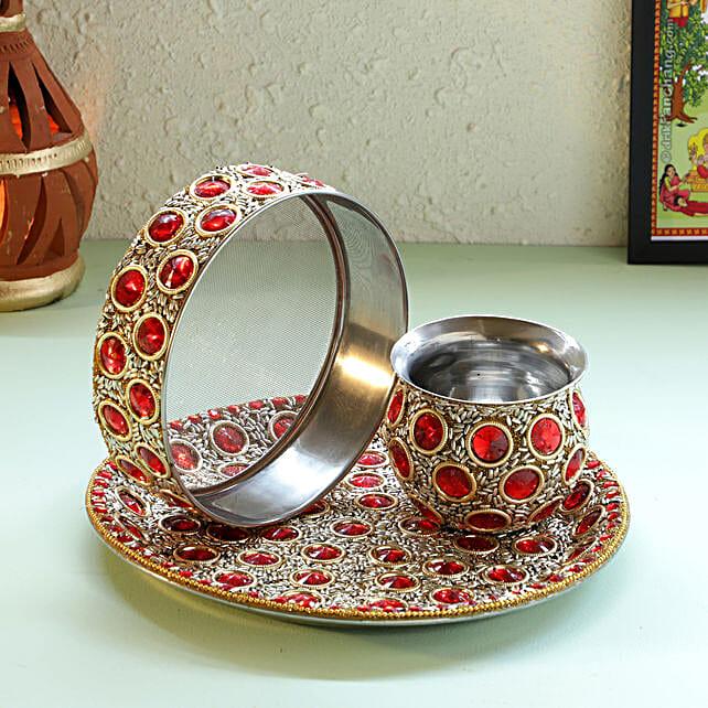 Golden Design Red Stone Thali Set: Karwa Chauth Pooja Thali