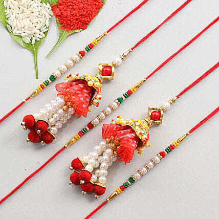 Gorgeous Set Of 5 Family Rakhis: Send Set of 5 Rakhi