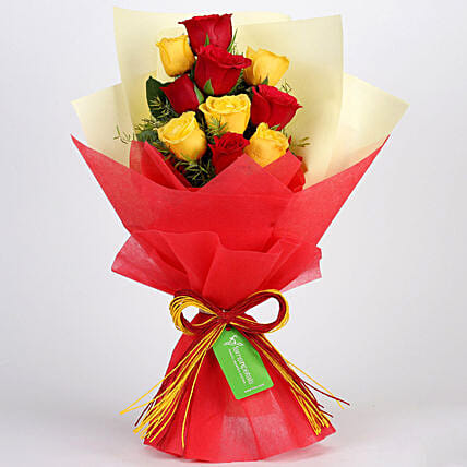 Graceful Red & Yellow Roses Bouquet: Send Roses