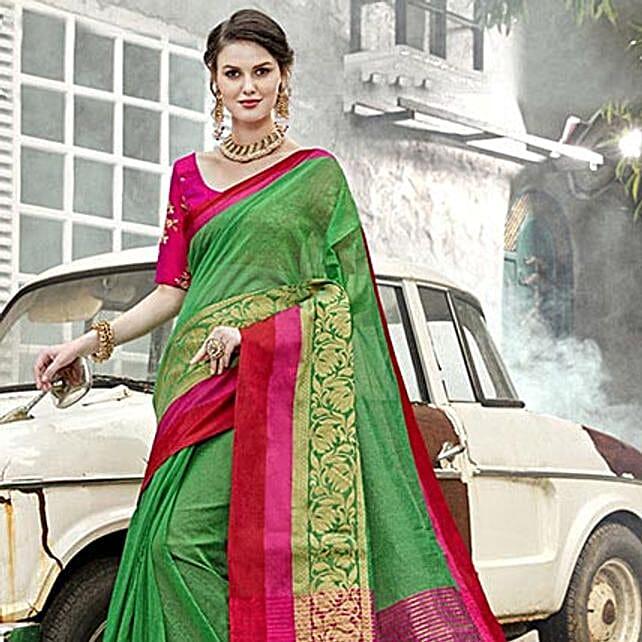 Green Art Silk Saree: