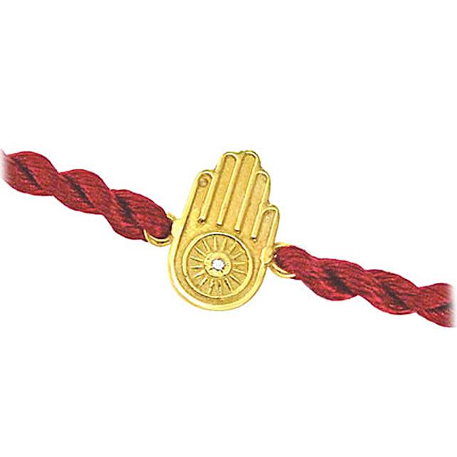 Hamsa Hand Gold N Diamond Rakhi: Gold Rakhi