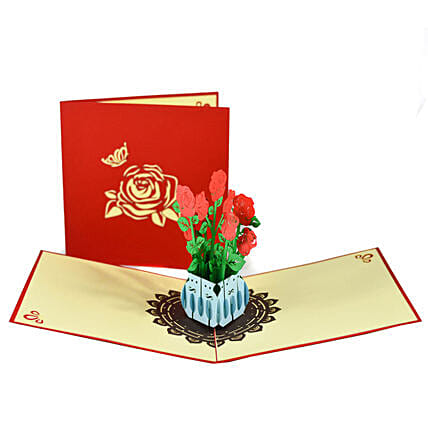 Handmade 3D Pop Up Rose Bouquet Card: Funny Gifts