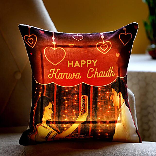 Happy Karwa Chauth LED Cushion: Send Karwa Chauth Personalised Gifts