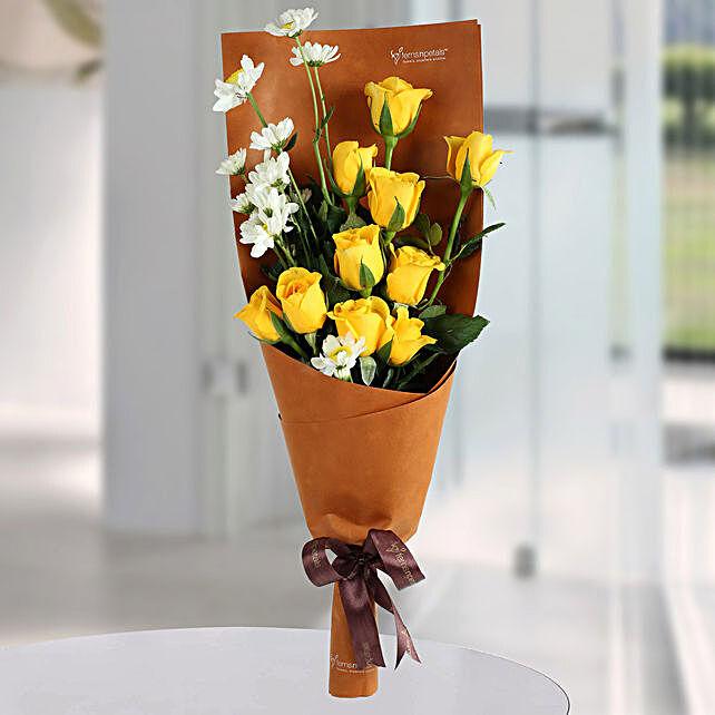 Happy Yellow Roses Bunch: Designer Bouquet