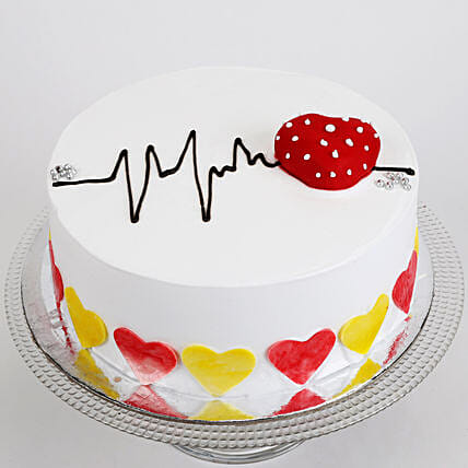 Heart Beat Cake: Send Valentines Day Designer Cakes