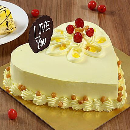 Heart Shaped Butterscotch Cake: Send Heart Shaped Cakes to Dehradun