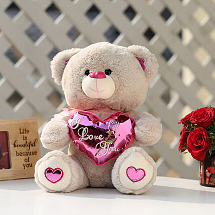I Love You Teddy Bear With Pink Heart: Send Soft Toys