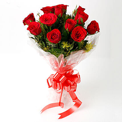 Impressive Charm- Bouquet of 10 Red Roses: Rose Day Gifts