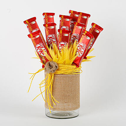 Kit Kat Chocolates Vase Arrangement: Send Chocolate Bouquet