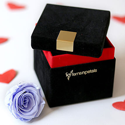 Lavender Blue Forever Rose In Velvet Box: Roses