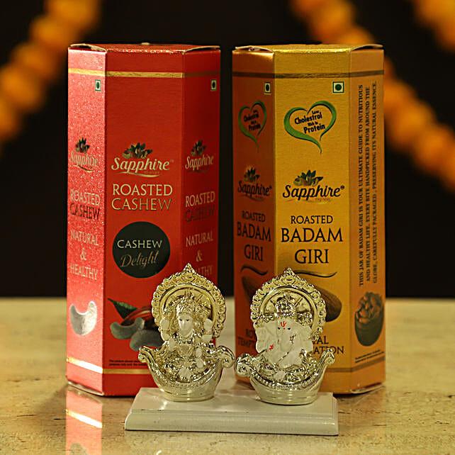 Laxmi Ganesha Idol & Dry Fruits: Laxmi Ganesh Gifts