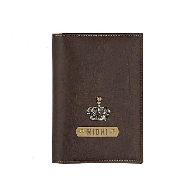 Leather Finish Passport Cover Dark Brown: