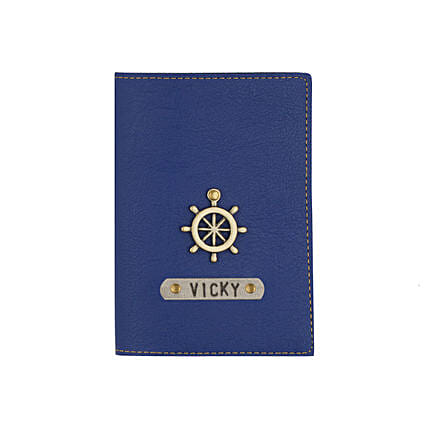 Leather Finish Passport Cover Navy Blue: