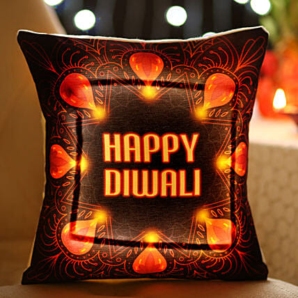 LED Cushion With Diwali Wishes: Diwali Cushions