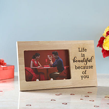 Life is Beautiful Engraved Wooden Frame: