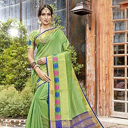 Light Green Banarasi Silk Saree: Saree Gifts
