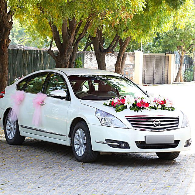 Lily & Carnations Car Decor: Car Flower Decoration