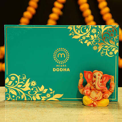 Lord Ganesha Idol & Dodha Burfi: Sweets Delivery