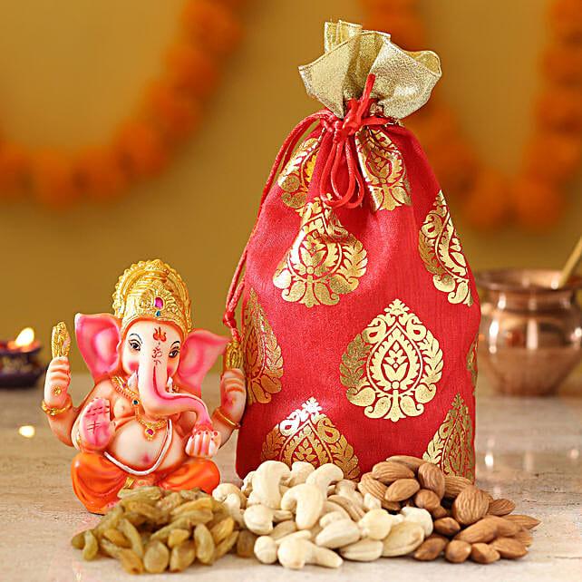 Lord Ganesha Idol & Dry Fruits: Dry Fruits Gift Packs