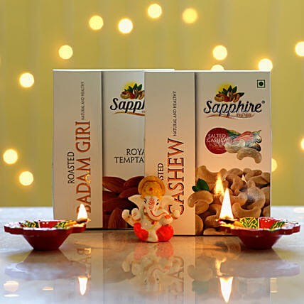 Lord Ganesha Idol & Roasted Dry Fruits: Dry Fruits Gift Packs