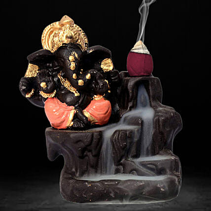 Lord Ganesha Incense Burner- Orange: Funny Gifts