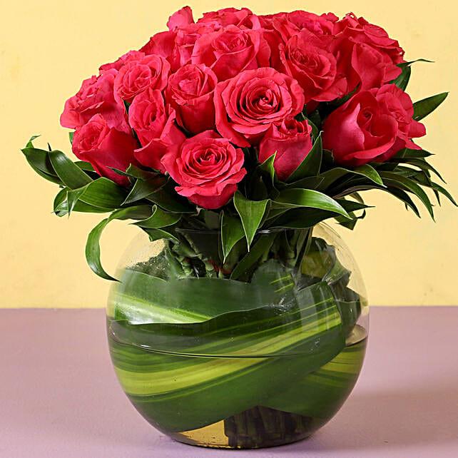 Pink Roses Glass Vase Arrangement: