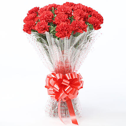 Lovely Red Carnations Bouquet: Yellow Flowers