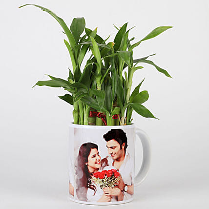 Lucky Bamboo in Personalised White Mug: Personalised Gifts Combos
