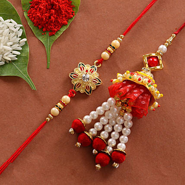 Lumba & Colorful Flower Shape Rakhi Combo: