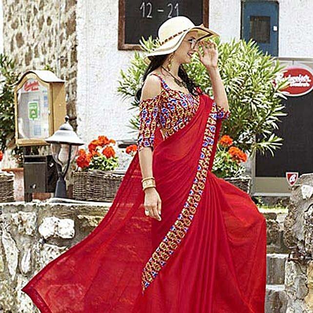 Magenta Chiffon Border Worked Saree: Saree Gifts