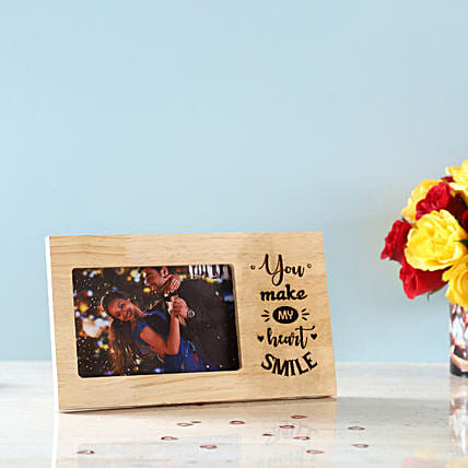 Make My Heart Smile Engraved Wooden Frame: Send Photo Frames