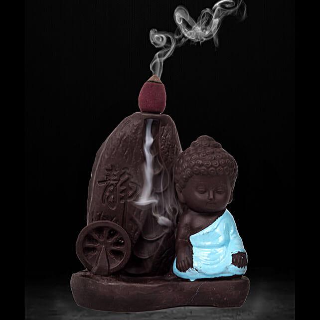 Meditating Monk Buddha Incense Burner: Unusual Gifts