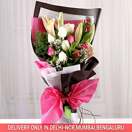 Mesmerizing Roses & Lilies Posy: Send Tulips