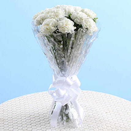 Mesmerizing White Carnations Bouquet: White Flowers
