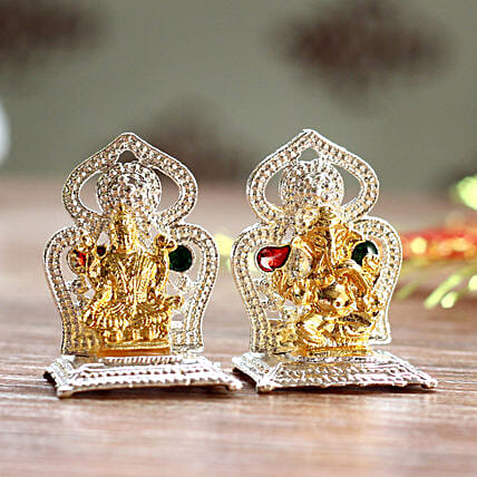 Mini Lakshmi Ganesha Idols On Two Singhasan: Laxmi Ganesha Idol Gifts