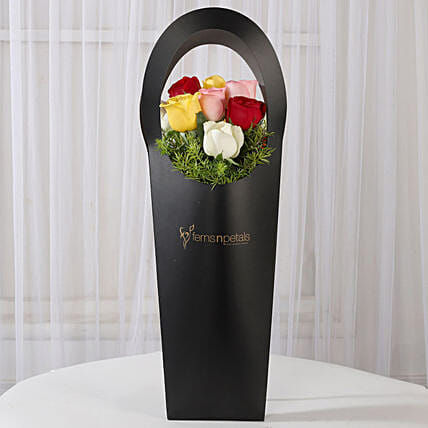 Mixed Roses in Black Sleeve Bag: Send Flowers In Sleeve