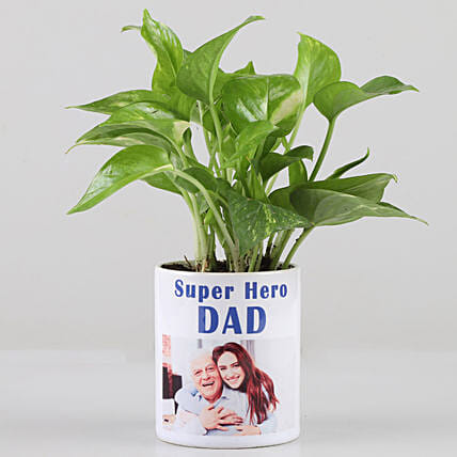 Money Plant In Personalised Super Hero Dad Mug: