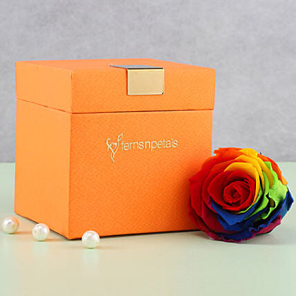 Mystic- Forever Rainbow Rose in Orange Box: Gifts For Kiss Day